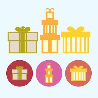 Подарочные коробки. набор из трех круглых красочных иконок, различных видов подарочных коробок, векторные иллюстрации