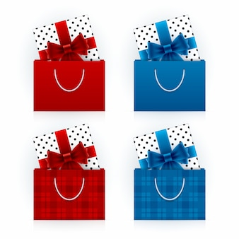 Gift boxes in shopping bags