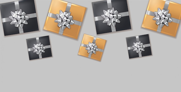 Gift boxes silver bow