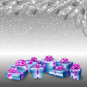 Gift boxes and silver christmas tree