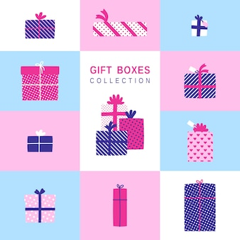 Gift boxes simple illustrations set