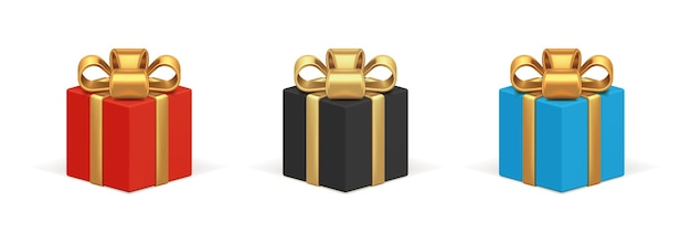 Gift boxes square with gold ribbon