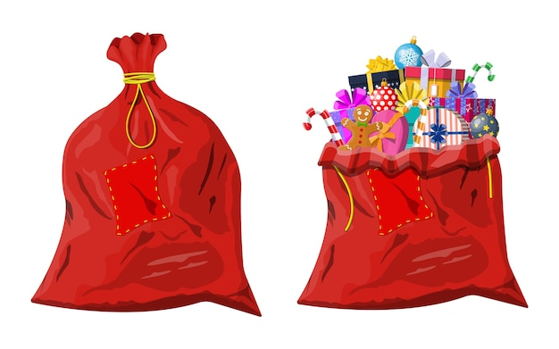 Gift boxes in traditional red bag
