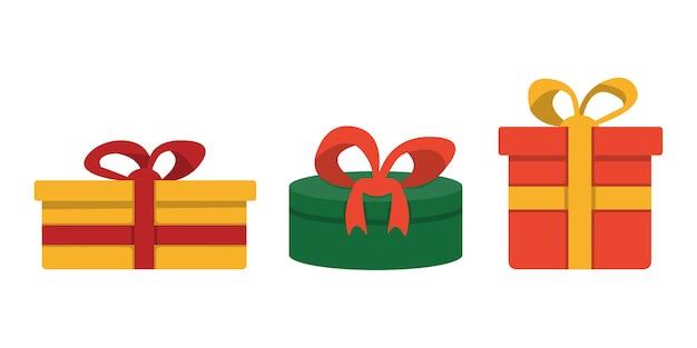 白い背景で隔離の弓の漫画イラストとギフトボックス。クリスマスプレゼントのラッピングデコレーション。