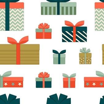 리본으로 선물 상자크리스마스 새 해 생일 원활한 패턴