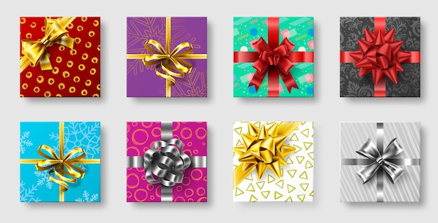 Gift boxes with ribbon bow. gifts decoration bows, christmas holidays top view presents boxes.