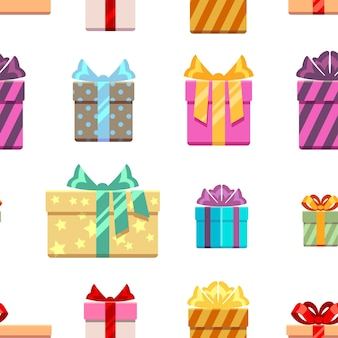 Gift boxes with ribbon bows seamless pattern
