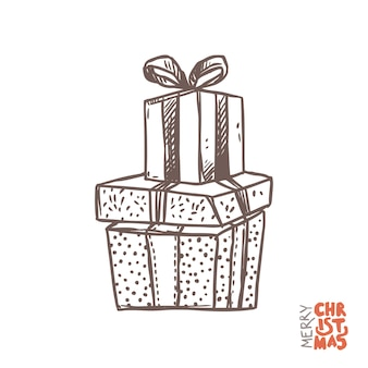 Gift boxes with ribbons in sketch hand drawn style, doodle illustration