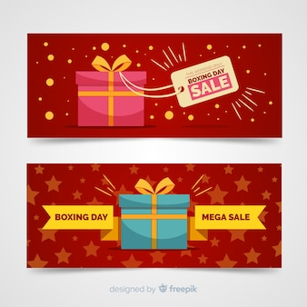 Gift boxing day template banner