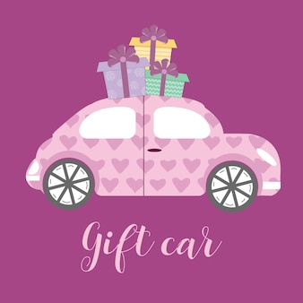 Gift car in cartoon style