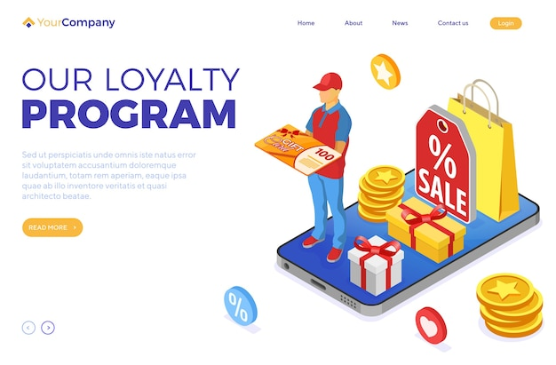 Gift card and customer loyalty programs as part of return marketing. returns, interest, points, bonuses. online support on smartphone gives gift card from loyalty program landing page isometric