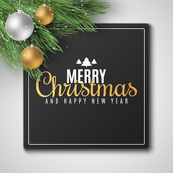 メリークリスマスと新年あけましておめでとうございます2020のギフトカード。お祝いボールとモミの木。雪が降る。