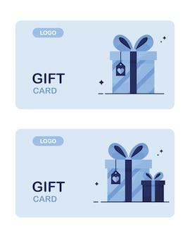 ボーナスクーポンのセットとしてポイントカードを使用した店舗顧客向けのギフトカード。青