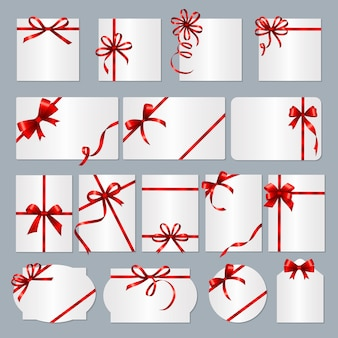 Gift card frames. red ribbons gift banners with place for text  collection