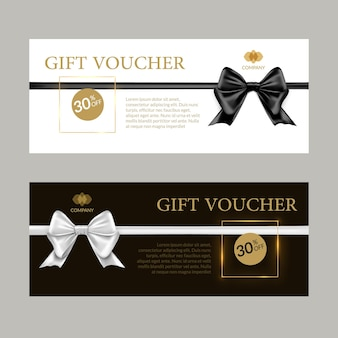 Gift card or gift voucher template. black and white bows and ribbons banner certificate design