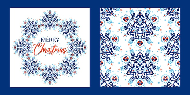 Gift card merry christmas season greetings background and festive ornament vector seamless pattern