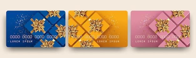 ギフト カードまたは商品券またはバウチャーまたは割引カードのデザイン テンプレート セット