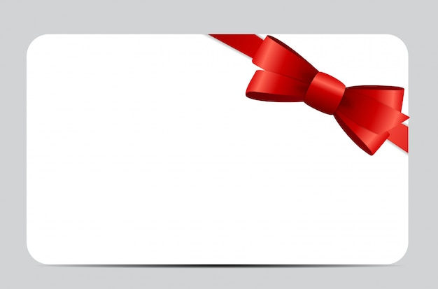 Gift card set with red ribbon and bow.