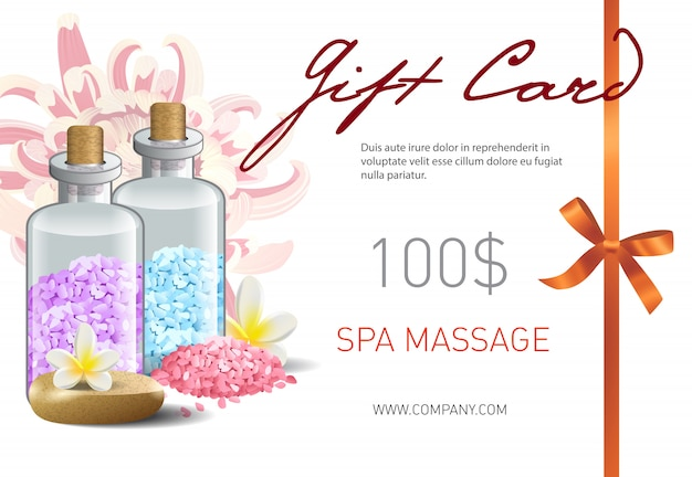 Gift card, spa massage lettering, ribbon and accessories. spa salon gift voucher