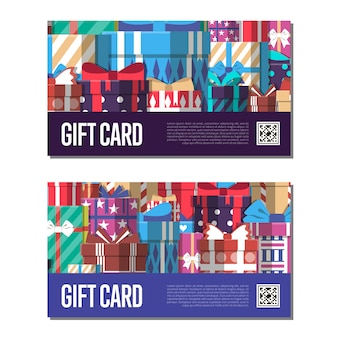 Gift card template set with gift box