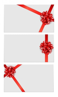 Gift card template with bow and ribbon collection set