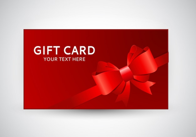 Gift card template with bow and ribbon