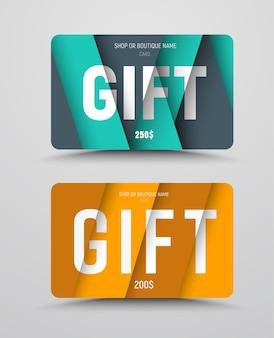 다른 높이 수준에서 종이와 텍스트의 부동 시트가있는 선물 카드 템플릿.