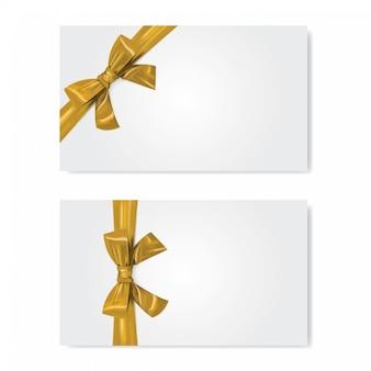 골드 리본 및 활 선물 카드 템플릿