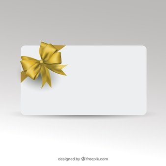 Gift card template with golden ribbon