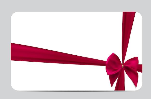 실크 리본과 활 선물 카드 템플릿입니다. 벡터 일러스트 레이 션