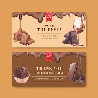 Gift card template with world chocolate day concept