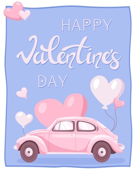 Gift card for valentine's day. pink cartoon retro car.