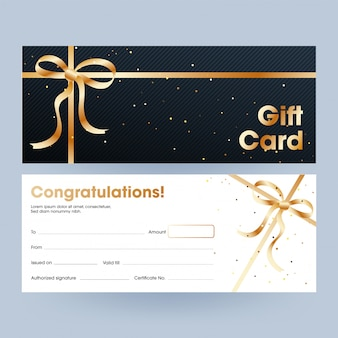 Gift card or voucher, horizontal banner set with golden ribbon.