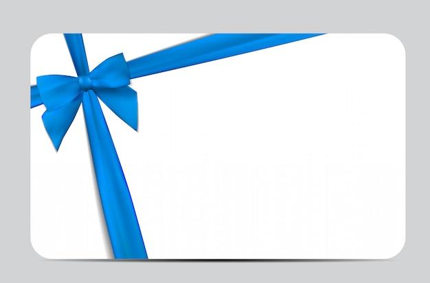 ブルーリボンとリボンのギフトカード。図