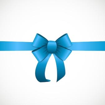 Подарочная карта с голубой лентой и бантом. векторная иллюстрация eps10