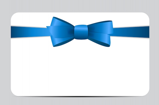 Gift card with blue ribbon and bow
