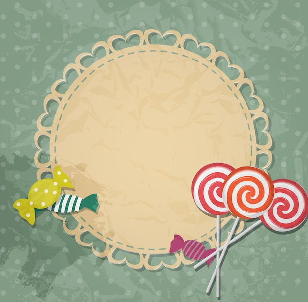 Gift card with candy design elements. vector illustration