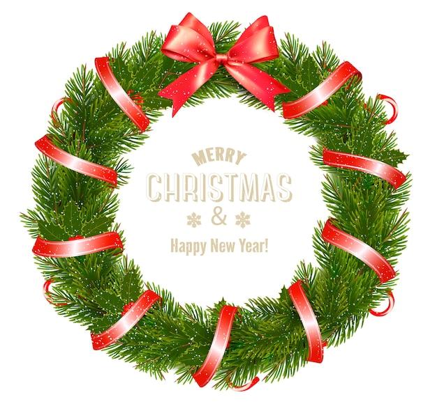 クリスマスリースと弓とリボンのギフトカード