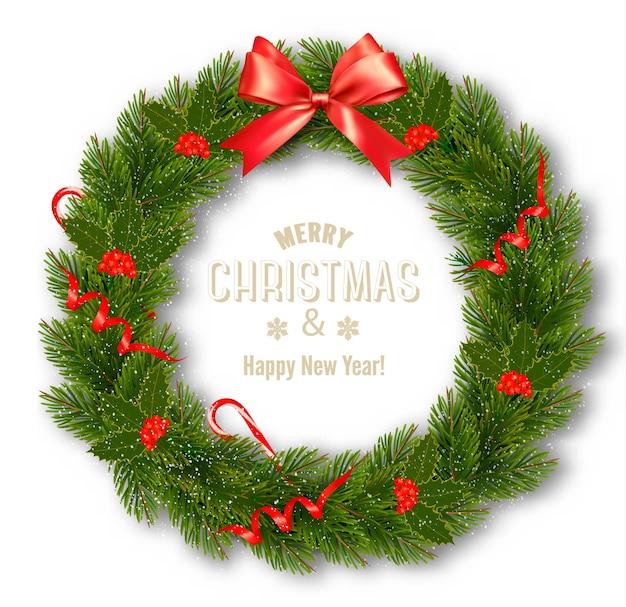 クリスマスリースと弓のギフトカード