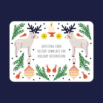Gift card with deer, christmas tree toy, candle and chalk decor on a white background. winter design.