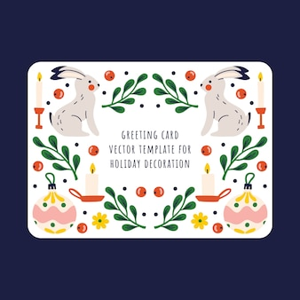 Gift card with elements of new year's holidays. christmas design template with bunny, christmas tree toy, candles and small decor on a white background.