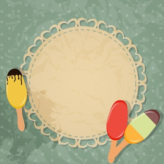 Gift card with ice cream design elements. vector illustration