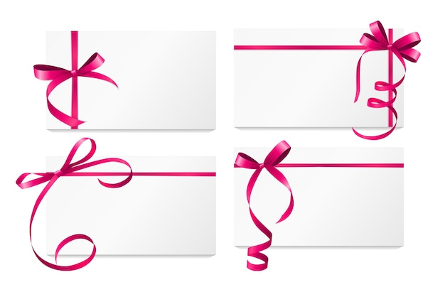 Gift card with pink ribbon and bow set. vector illustration
