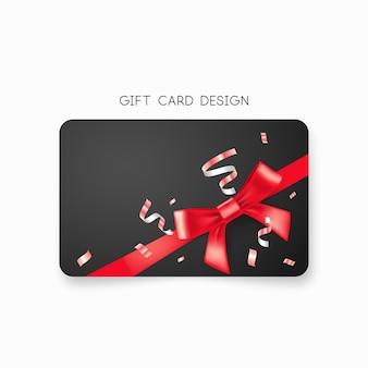 赤いリボンとリボンのギフトカード