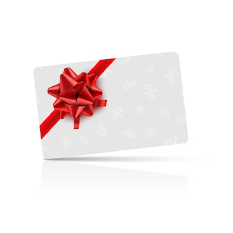 Gift card with red bow and ribbon