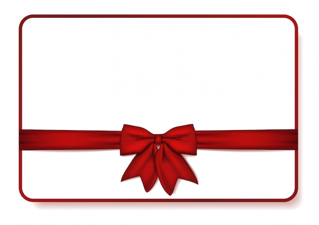 Gift card with red bow and ribbon.