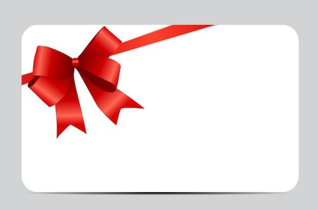 赤いリボンとリボンのギフトカード。ベクターイラストeps10