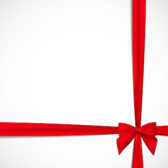 빨간 리본 및 활 선물 카드입니다. 벡터 일러스트 레이 션 eps10