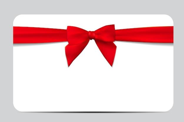 빨간 리본 및 활 선물 카드입니다. 벡터 일러스트 레이 션
