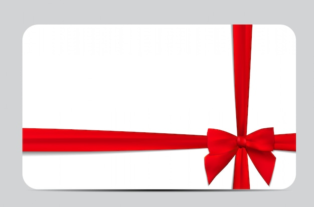 Gift card with red ribbon and bow.  illustration